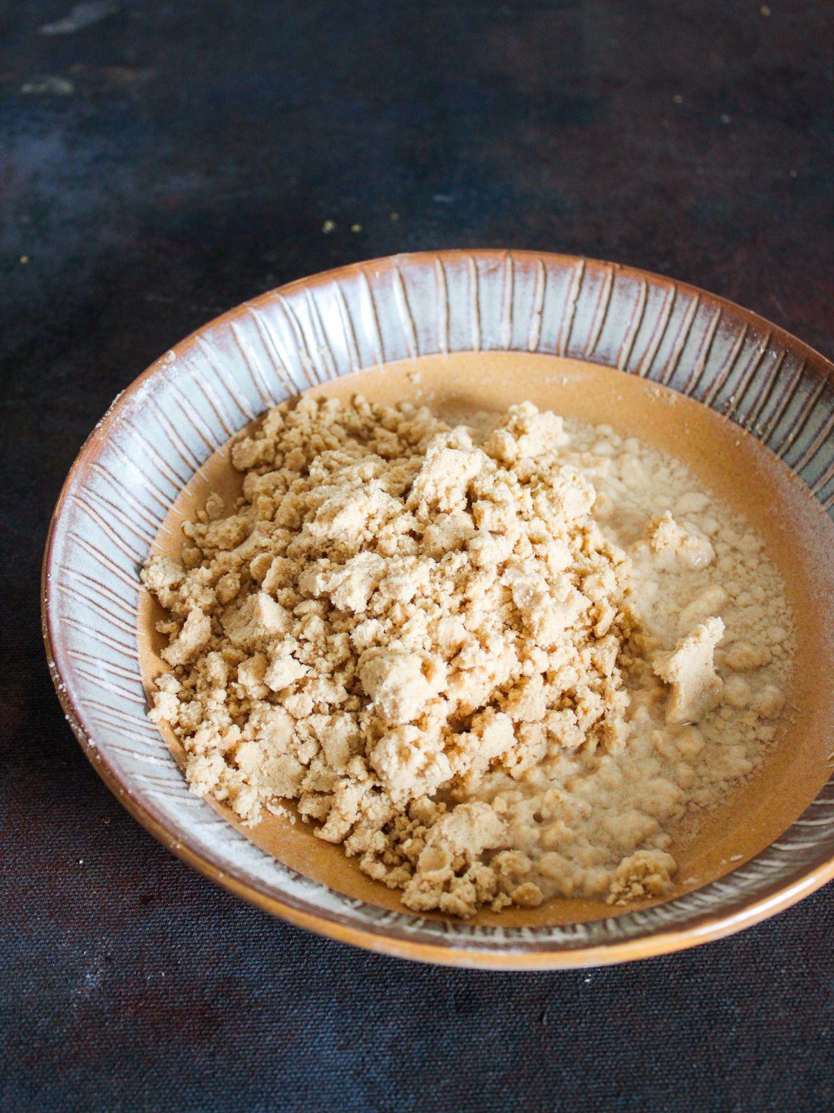 Crumble dough mixture in shallow bowl