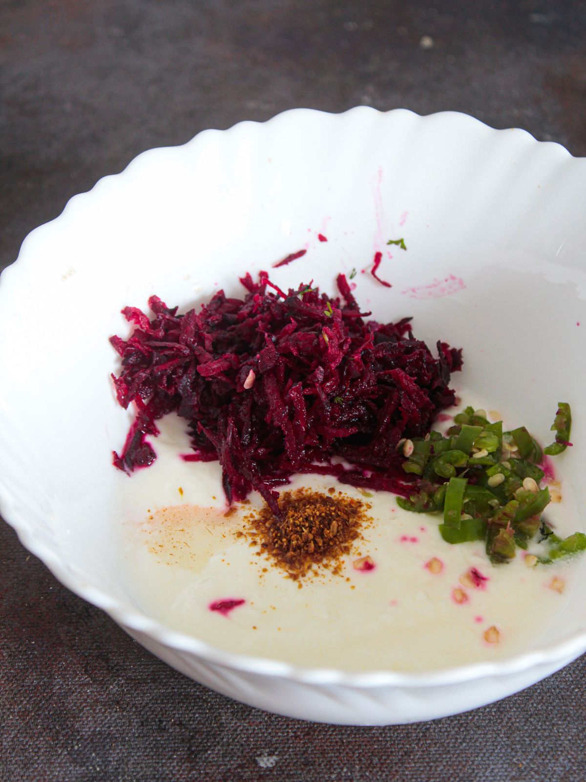 Mix all the ingredients of beetroot raita in a bowl
